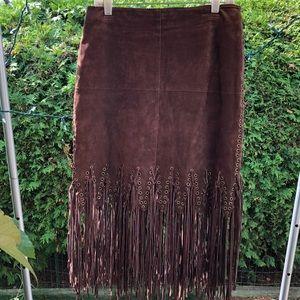 Wilsons Leather Maxima Suede Fringe Skirt size 12